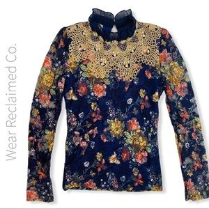 Girls Floral Top with Metallic Lace & Beading